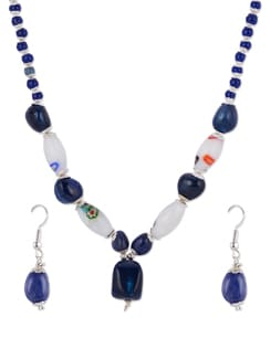 Blue & White Beaded Necklace Set - Shilpkritee