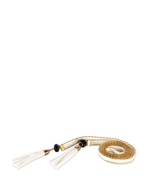 Tassled Tie-up Belt- White - Addons