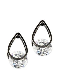 Gunmetal Tear Drop Shaped Crystal Earrings - Addons