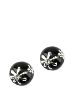Round Black Earrings With Flower - Addons