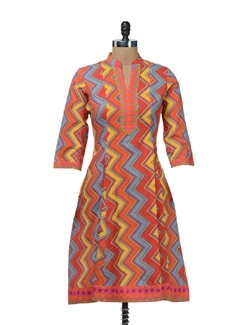Multicolored Zig-Zag Print Kurta - Cotton Curio