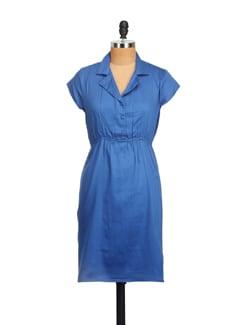 Cobalt Blue Lapel Collar Dress - Myaddiction