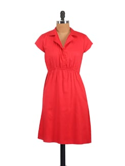 Red Lapel Collar Dress - Myaddiction