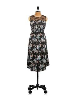 Black Floral Dress With Lace Yoke - Myaddiction