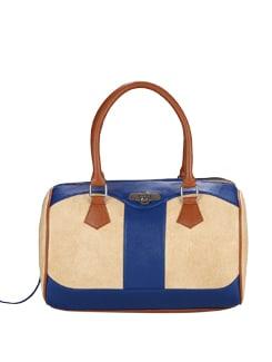 Blair- Blue And Beige Leather Handbag - Shwa