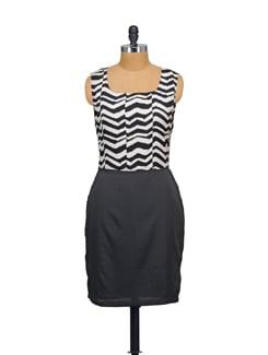 Black & White Printed Dress - Purplicious