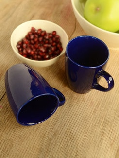 Blue Ceramic Coffee Mug Set Of 2 - Habitation