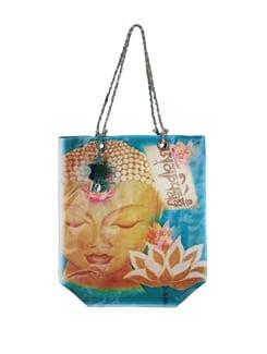 Turquoise-Yellow Buddha Print Tote Bag - The House Of Tara