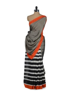 Stylish Grey & Orange Striped Saree - ROOP KASHISH
