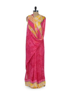 Printed Pink & Yellow Saree - ROOP KASHISH