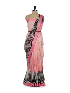 Printed Pink & Black Saree - ROOP KASHISH