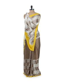 Brown & Yellow Printed Saree - ROOP KASHISH