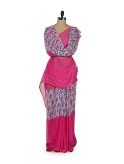 Pretty Pink Floral Saree - ROOP KASHISH