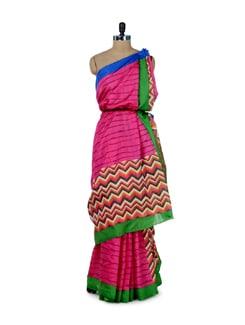 Candy Pink Saree With Printed Pallu - ROOP KASHISH
