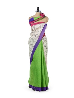 Parrot Green Graffiti Saree - ROOP KASHISH