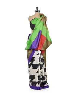 Printed Saree With Colorful Pallu - ROOP KASHISH