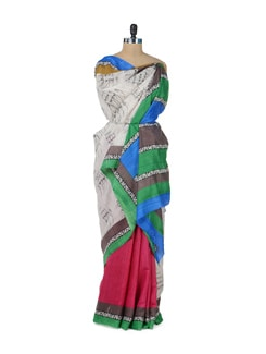 Chic Pink Graffiti Saree - ROOP KASHISH