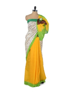 Yellow & Green Graffiti Saree - ROOP KASHISH