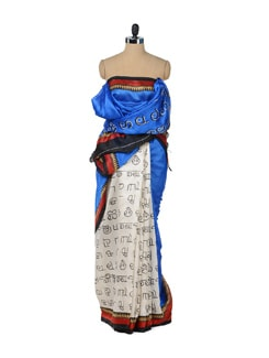 White & Blue Scribbled Saree - ROOP KASHISH