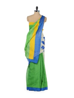 Designer Green & White Floral Saree - ROOP KASHISH