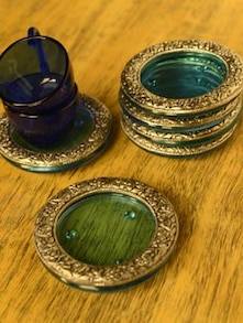 Blue & Silver Coasters (Set Of 6) - Roshni Creations