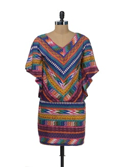 Multi Hued Tribal Poncho Dress - Color Cocktail