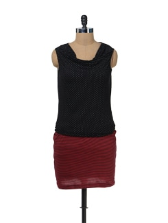 Dress With Black Polka Dotted Top And Striped Red Skirt - Color Cocktail