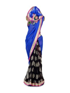 Black & Blue Printed Saree - ROOP KASHISH