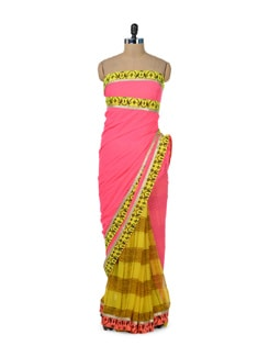 Yellow & Neon Pink Designer Saree - ROOP KASHISH