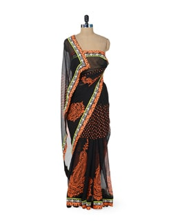 Black & Orange Paisley Print Saree - ROOP KASHISH