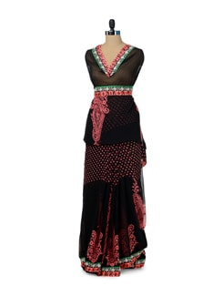 Black & Peach Paisley Print Saree - ROOP KASHISH