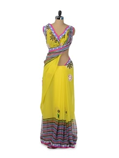 Vibrant Yellow Floral Saree With Stripes - ROOP KASHISH