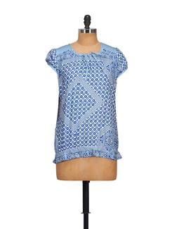 Blue Printed Top - STYLE QUOTIENT BY NOI