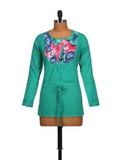 Trendy Green Tunic Top - STYLE QUOTIENT BY NOI