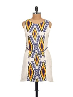 White & Navy Printed Tunic With Belt - NOI