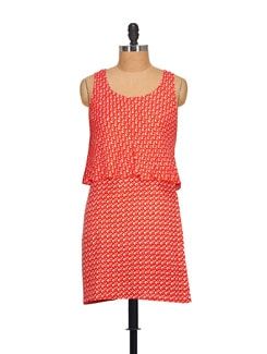 Printed Red Double Layer Dress - NOI