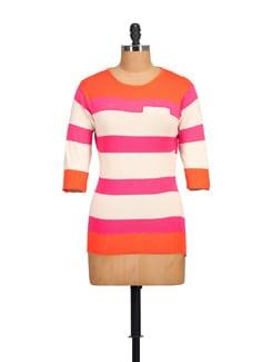 Pink & Orange Striped Top - NOI