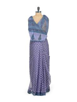 Purple Floral Kota Cotton Saree - Nanni Creations