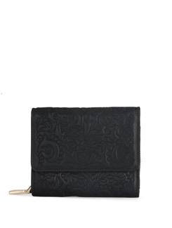 Overflap Black Wallet With A Floral Touch - Eske