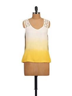 Casual Sleeveless Top In White And Yellow - House Of Tantrums
