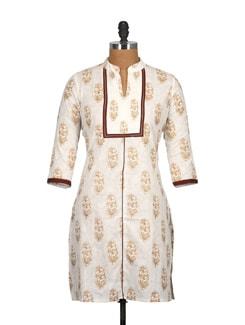 Wheat Brown Cotton And Block Print Knee Length Kurti - Tamirha