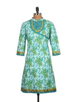Mint Green Cotton Kurti With Contrast Patchwork - Tamirha