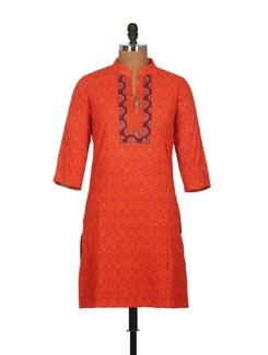 Bold Orange Pin Tuck Pleats Cotton Kurti With Patchwork - Tamirha