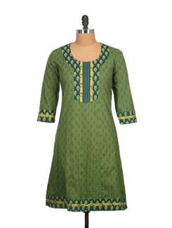 Olive Green And Blue Block Print Cotton Kurti - Tamirha