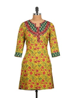 Citrine Green Cotton Kurti With Floral Print - Tamirha
