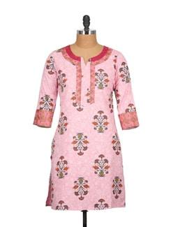 Light Pink Block Print Patchwork Cotton Kurti - Tamirha