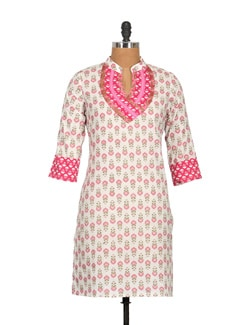 Snow White And Pink High Collar Cotton Kurti - Tamirha