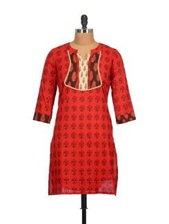 Vermilion Red Patchwork Pure Cotton Casual Kurti - Tamirha