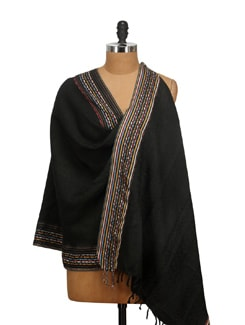 Viscose Self Jacquard With Multi Colored Border Shawl - Elabore