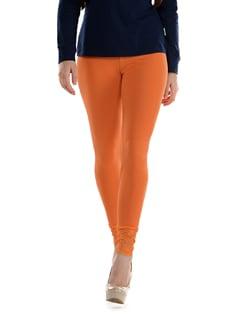 Lace Trimmed Leggings- Orange - SORRISO